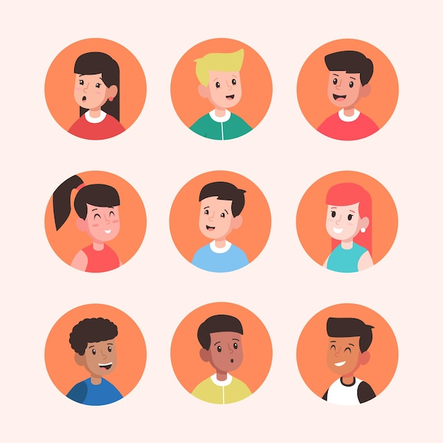 Pack of different people avatars Free Vector