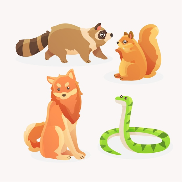 Pack of different pets Free Vector