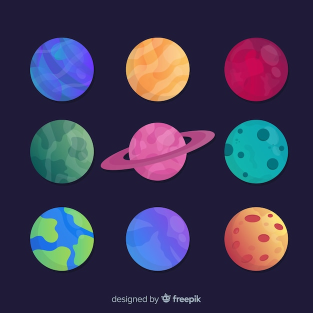 Pack of different planets stickers Free Vector