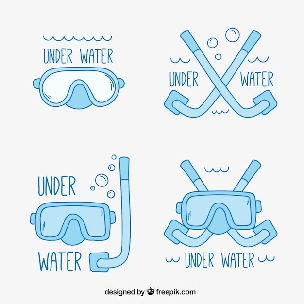 Pack of diving badges Free Vector