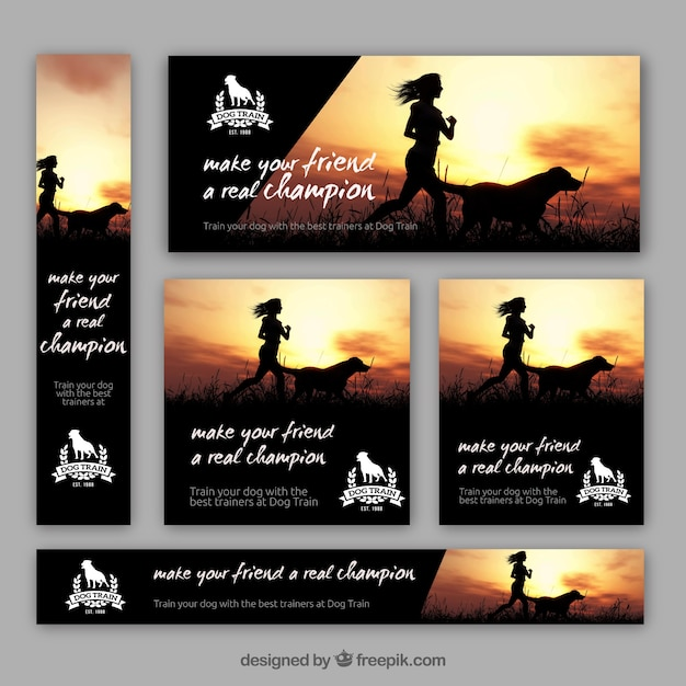 Pack of dog trainer banners Free Vector