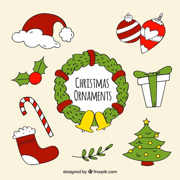 Drawings Of Christmas Ornaments.Pack Of Drawings Of Decorative Christmas Elements Vector
