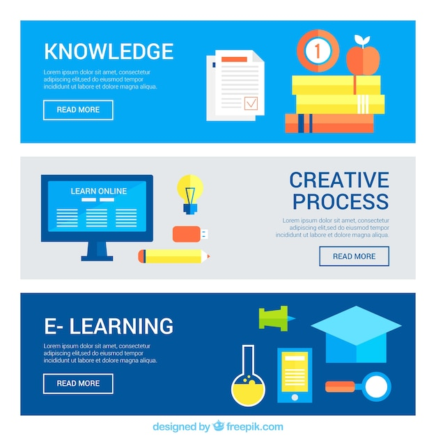 Free Vector Pack Of E Learning Banners