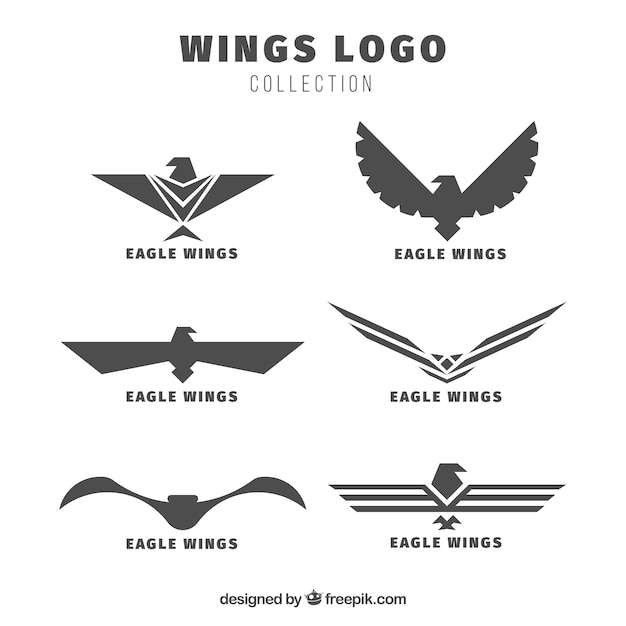 Pack of eagles wings logos Free Vector
