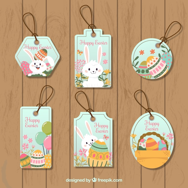 Pack of easter tags Premium Vector