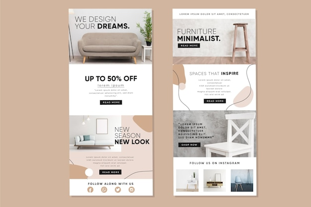 Pack of ecommerce email template with photos Free Vector