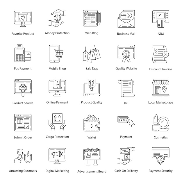 Pack of ecommerce line icons pack Premium Vector