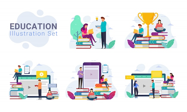 Pack of education design concept illustration set Premium Vector