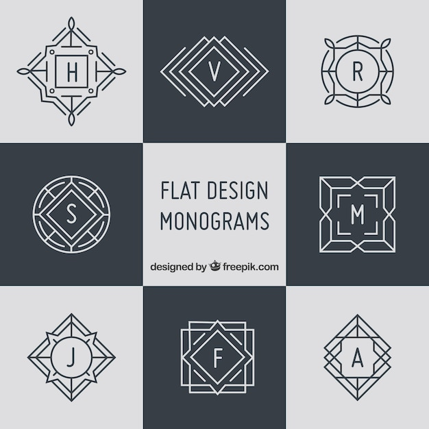 Pack of elegant monograms in linear style Free Vector