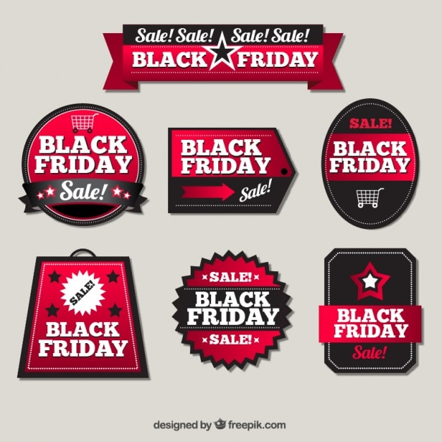 Pack Of Elegant Sale Stickers For Black Friday Vector Free Download
