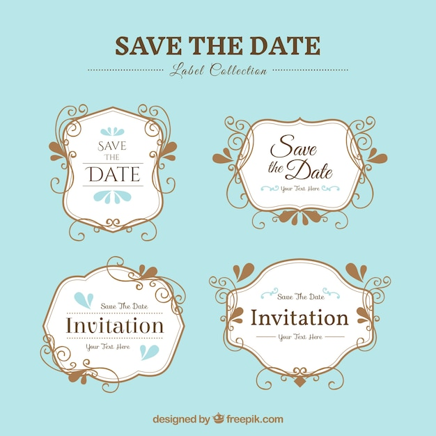 Pack of elegant wedding stickers Free Vector