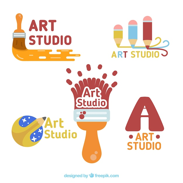 Pack of enjoyable art studio logos Premium Vector