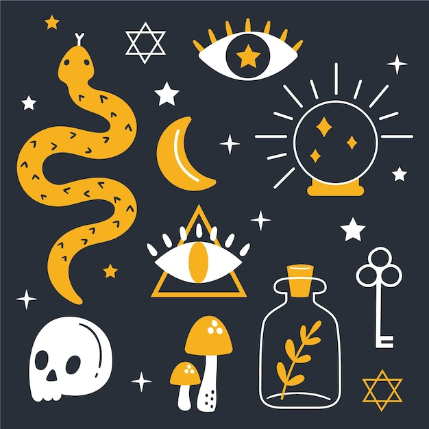 Pack of esoteric elements concept Free Vector