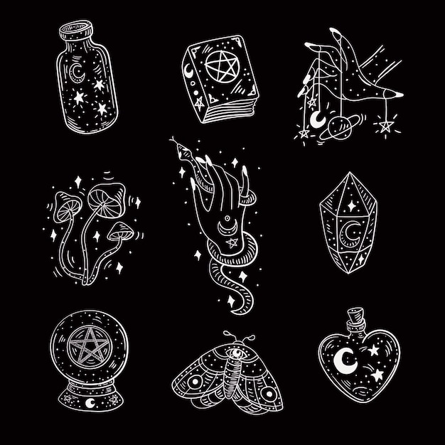 Pack of esoteric elements Free Vector