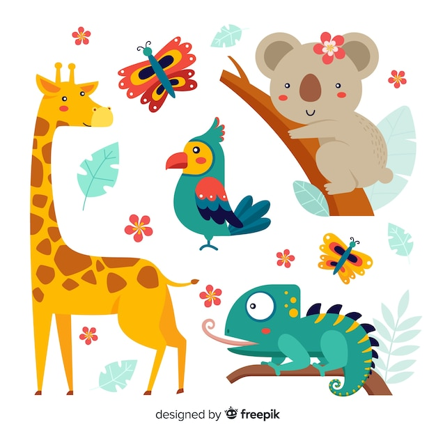 Pack of exotic cute animals Free Vector