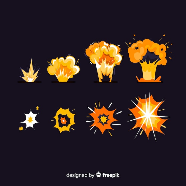Pack of explosion effects cartoon style Free Vector