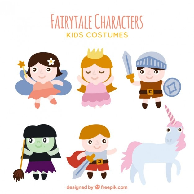 Pack of fairytale characters with an unicorn Vector   Free Download