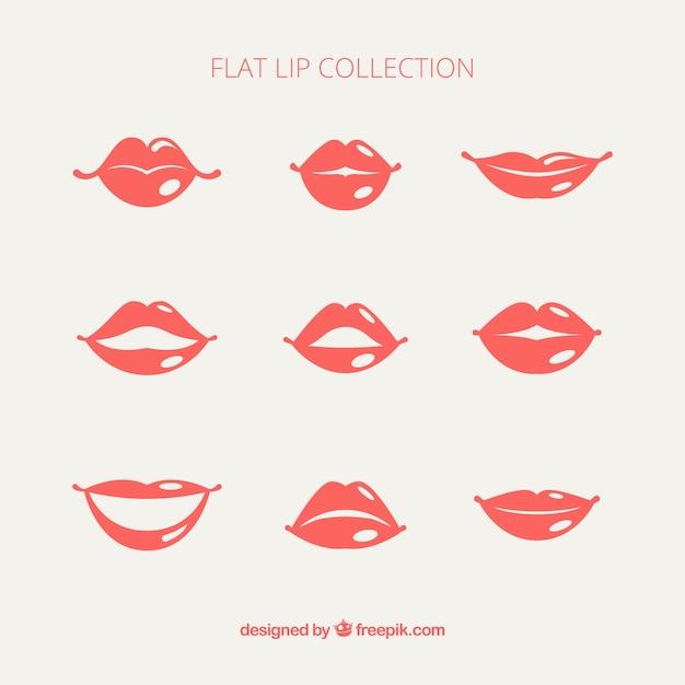 Pack of female lips Premium Vector