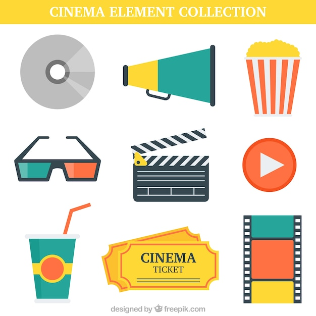Pack of film elements in flat design Free Vector