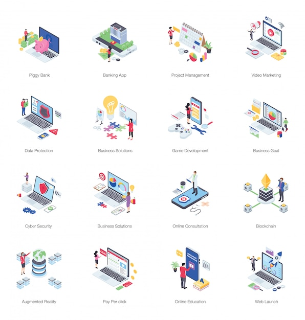 Pack of finance illustration Premium Vector