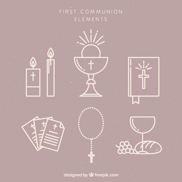 Pack of first communion items Free Vector