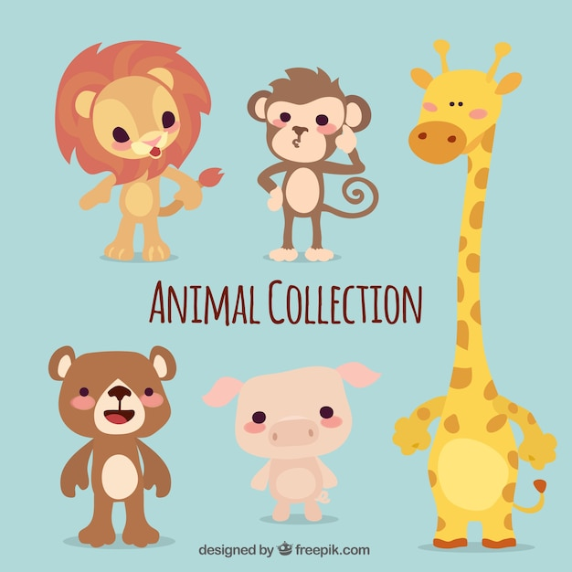 Pack of five cute animals Free Vector
