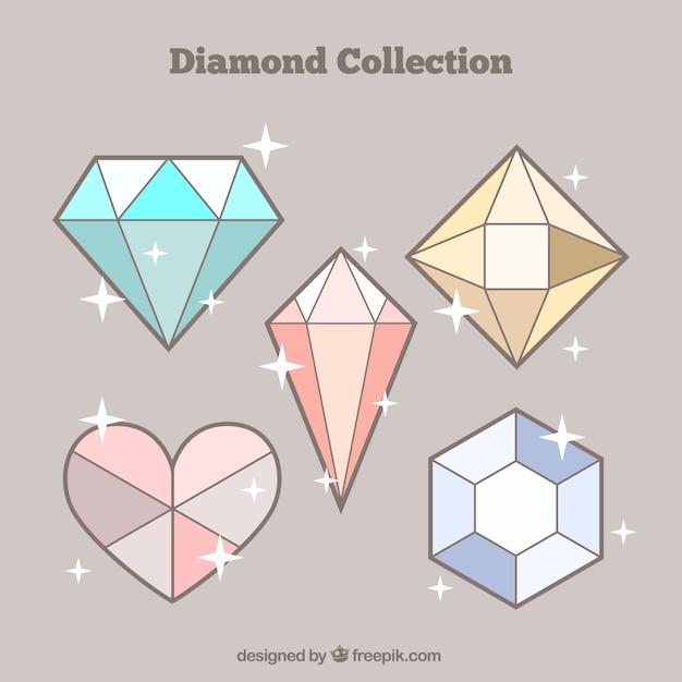 Pack of five diamonds Free Vector