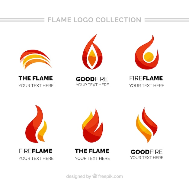 Pack of flame logos with different colors Premium Vector