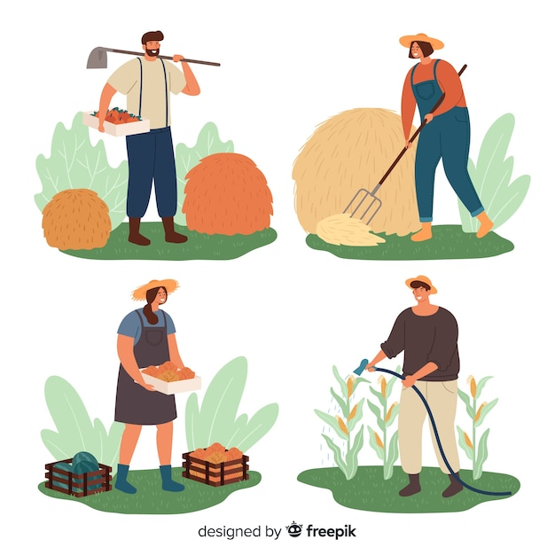 Pack of flat agricultural workers Free Vector
