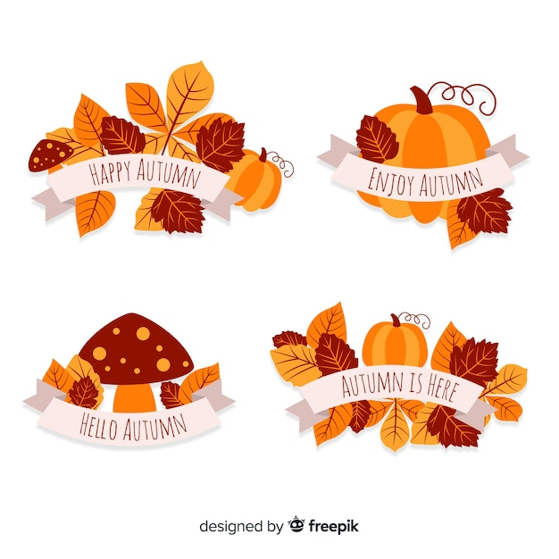 Pack of flat autumn badges Free Vector