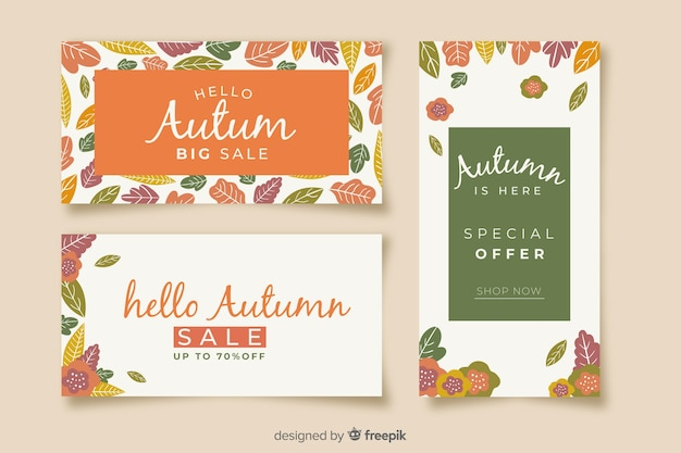 Pack of flat autumn sales banners Free Vector