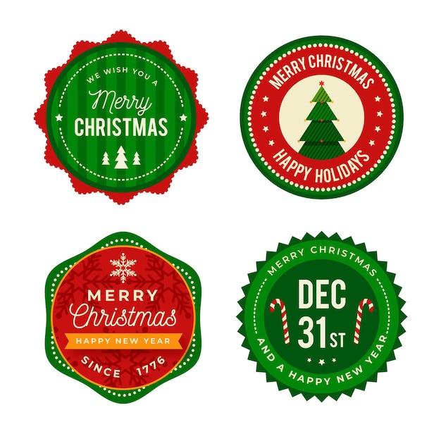 Confezione di etichette natalizie piatte Vettore gratuito