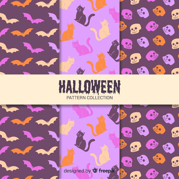 Pack of flat halloween patterns Free Vector