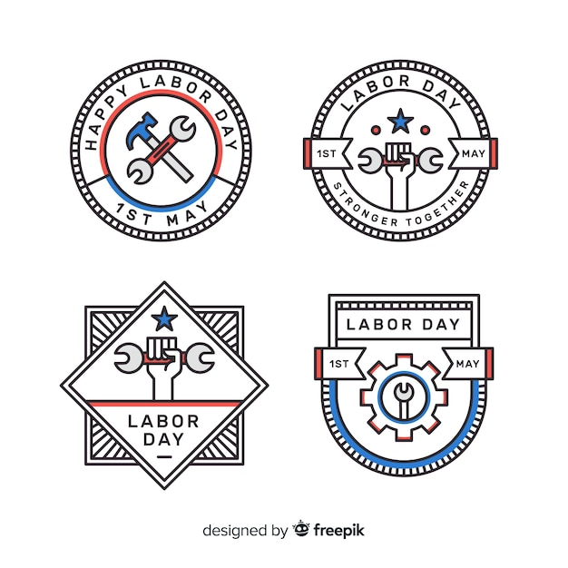 Pack of flat labor day badges Free Vector