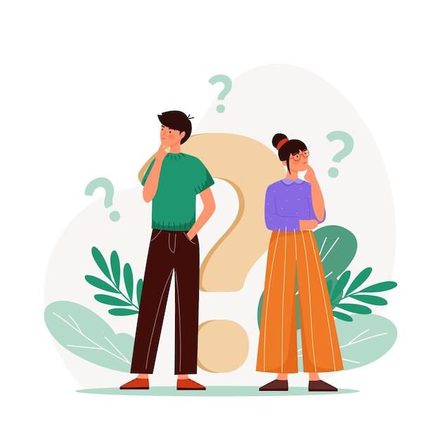 Pack of flat people asking questions Free Vector