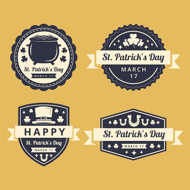 Confezione da flat st. etichette del giorno di patrick Vettore gratuito