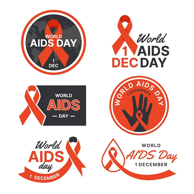 Pack of flat world aids day badges Free Vector