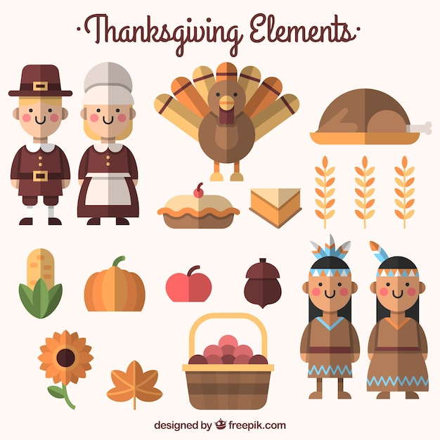 Pack of food and thanksgiving characters in flat design Free Vector