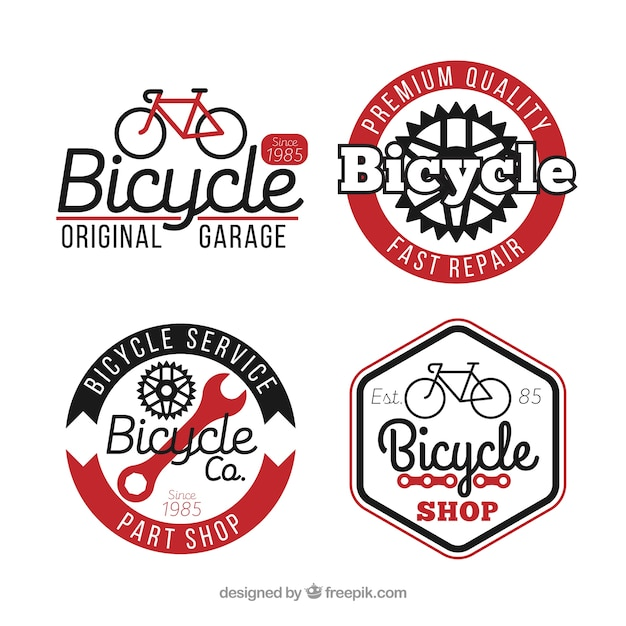 Pack of four bicycle logos Free Vector