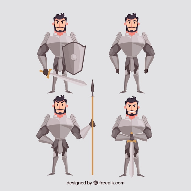 Pack of four characters knight with armor Free Vector