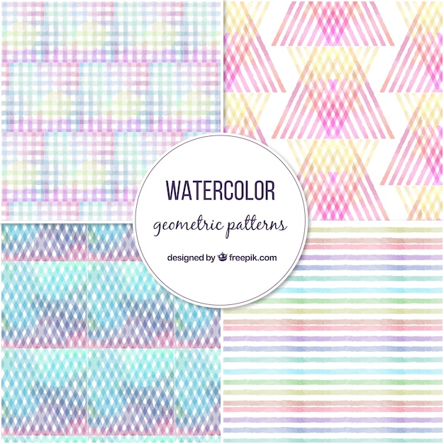 Pack of four colorful geometric patterns Free Vector