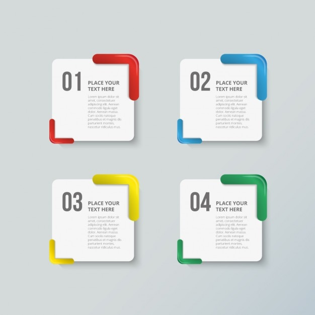 Pack of four colorful options for infographics Free Vector