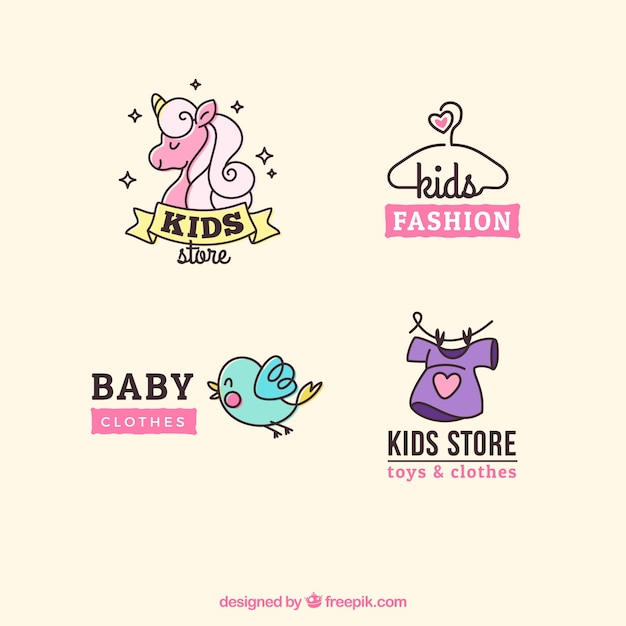 Pack of four cute kids logos Free Vector