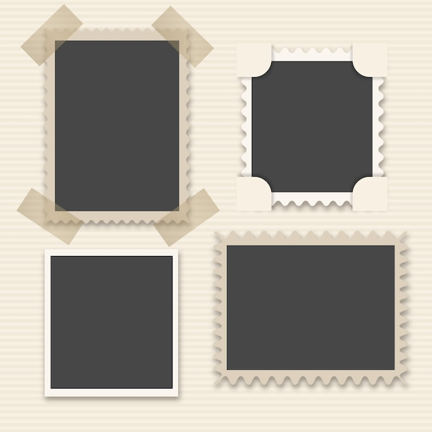 Pack of four decorative vintage photo frames Free Vector