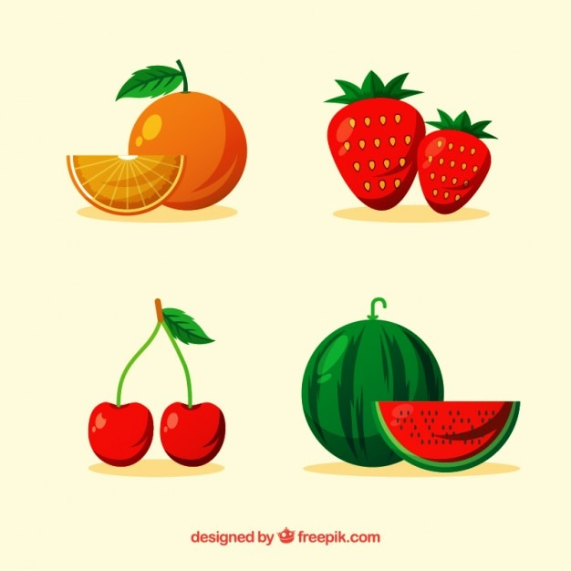 Pack of four delicious fruits Free Vector