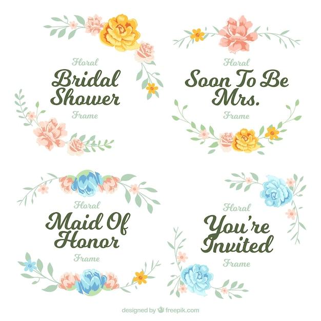 Pack of four floral frames for bridal shower Free Vector