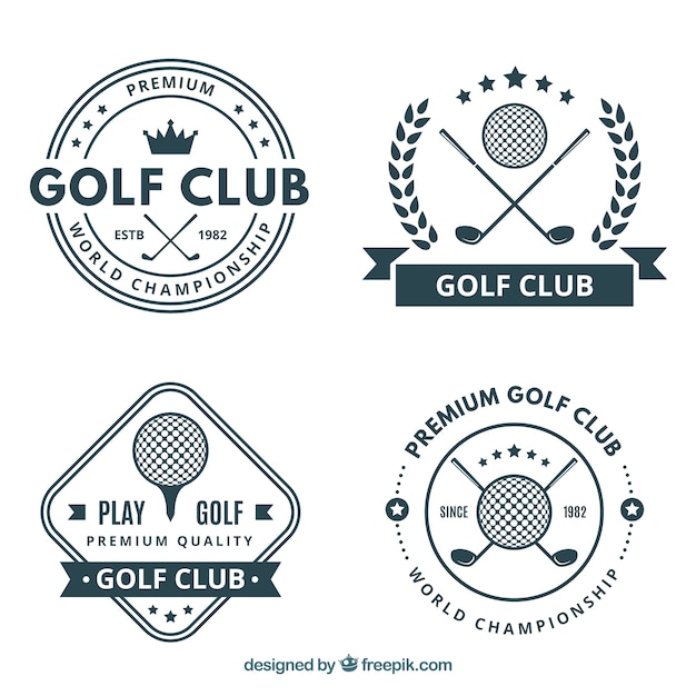 Pack of four golf labels Free Vector