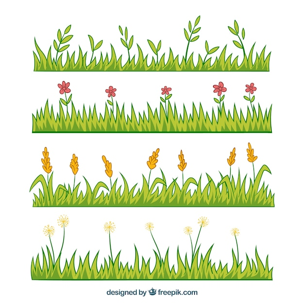 Pack of four hand-drawn grass borders with flowers Free Vector