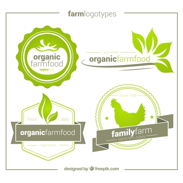 Pack of four hand drawn organic logos Free Vector
