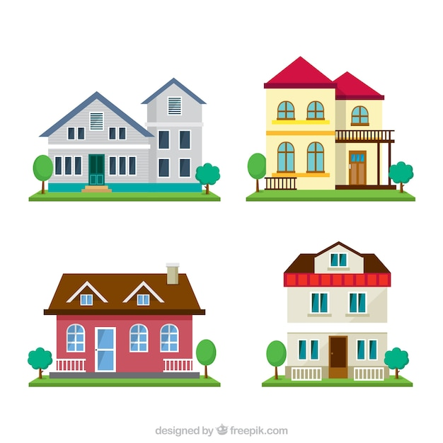 pack of four houses with garden vector free download